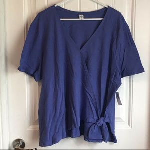 NWT Old Navy blue cross over summer top XXL